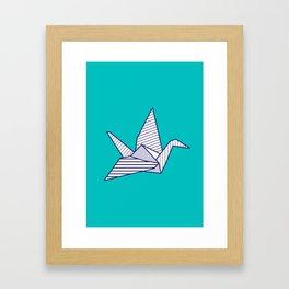 Swan, navy lines on turquoise Framed Art Print