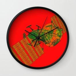 Explorer Schematic Warped Green on Red Wall Clock