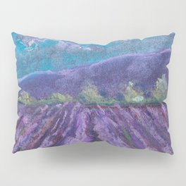 A field of lavender. Landscape drawing. The texture of pastels. Pillow Sham