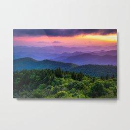 Sundown from Cowee Mountains Landscape Metal Print