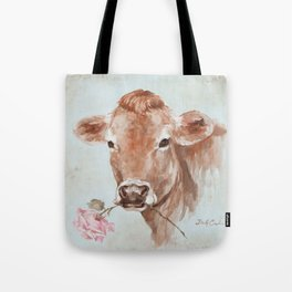 Cow with Rose by Debi Coules Tote Bag