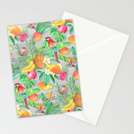 Tropical Paradise Fruit & Parrot Pattern Stationery Cards