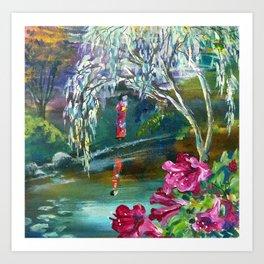 Japanese Garden Flowers Art Print