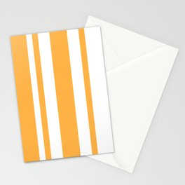 Mixed Vertical Stripes - White and Pastel Orange Stationery Cards