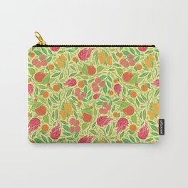 Dragonfruit amoung mango and mandarin on yellow background Carry-All Pouch