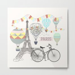 Design with hand drawn Eifel tower Metal Print