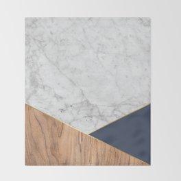 White Marble - Wood & Navy #599 Throw Blanket