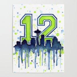 Seattle 12th Man Art Skyline Watercolor Poster