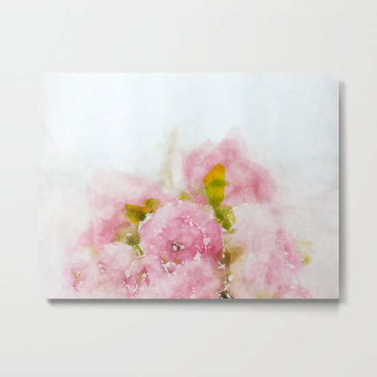 Rose treasure - Pink floral flowers on white background on #Society6 Metal Print