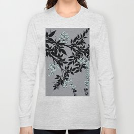 TREE BRANCHES BLACK AND GRAY WITH BLUE BERRIES Long Sleeve T-shirt