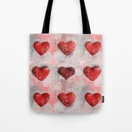 Heart Love Red Mixed Media Pattern Gift Tote Bag