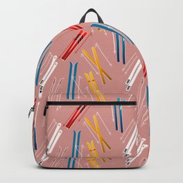 Colorful Ski Illustration and Pattern no 2 Backpack