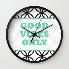 Art Deco Black White Light Seafoam Mint Geometric Good Vibes Only Wall Clock