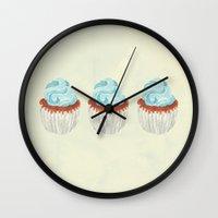 cupcake Wall Clocks featuring Cupcake by Marta Li