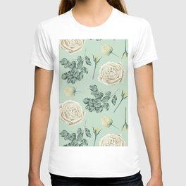 Rose Pattern Cream + Mint Green T-shirt