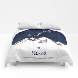 Astrology Scorpio Zodiac Horoscope Constellation Star Sign Watercolor Poster Wall Art Comforters