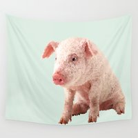 pig Wall Tapestries featuring Pig by Dora Birgis