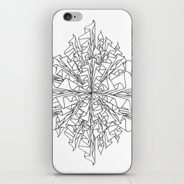 starburst line art - white iPhone Skin