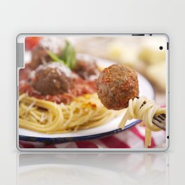 Spaghetti and meatball on a fork, plate in the background Laptop & iPad Skin