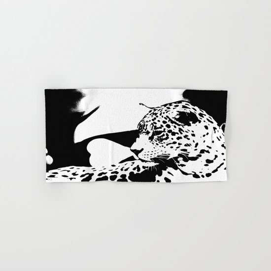 Black And White Wildcat  Hand & Bath Towel
