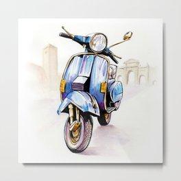 Azzurro Vespa (Motocicletalia) Metal Print