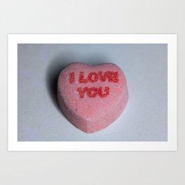 "Candy Heart ""I Love You"" Art Print"