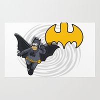 simpsons Area & Throw Rugs featuring bat-homer in action: the Simpsons superheroes by logoloco