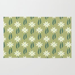 Tulip windmill olive green background Rug