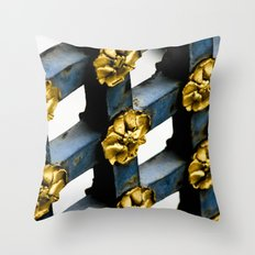 Gray Blue French Architecture with Parisian Gold Flowers Throw Pillow