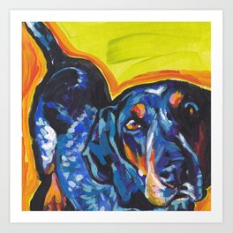 Fun BLUETICK COONHOUND Dog bright colorful Pop Art painting by Lea Art Print