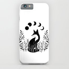 Fox on the Hill - Black and White iPhone Case