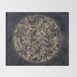 Vintage Constellations & Astrological Signs | Yellowed Ink & Cosmic Colour Throw Blanket