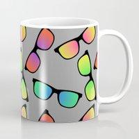 sunglasses Mugs featuring Sunglasses Pattern by Karolis Butenas
