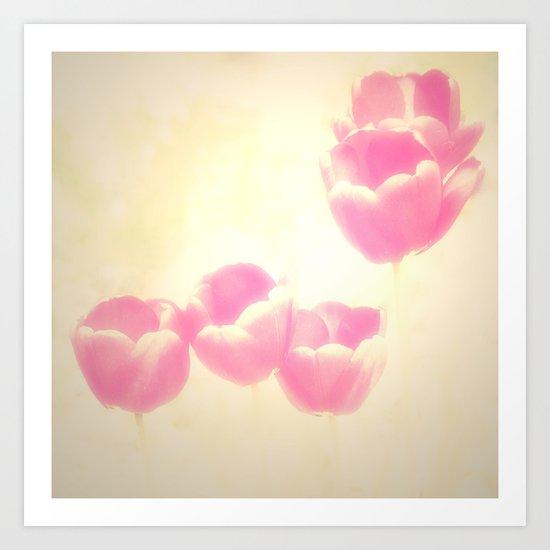 Hazy Pink Tulips Art Print