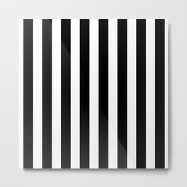 Classic Black and White Football / Soccer Referee Stripes Metal Print
