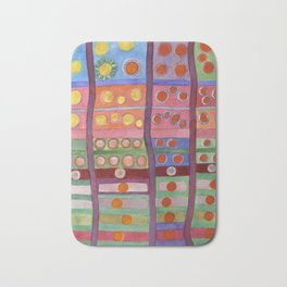 Colorful Grid Pattern with Numerous Circles Bath Mat