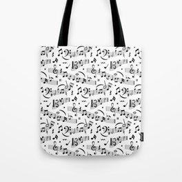 Doodle pattern with hand drawn music notes. Tote Bag