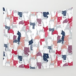 Happy llamas Christmas Choir III Wall Tapestry