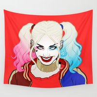 harley Wall Tapestries featuring  ♦ ♠ HARLEY QUINN ♥ ♣ by Mothling