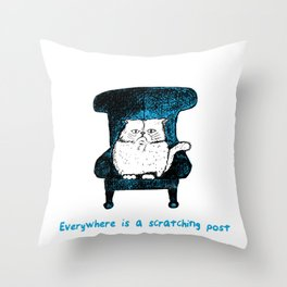 Everywhere is a Scratching Post (Blue) Throw Pillow