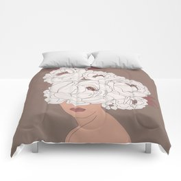 Woman with Peonies Comforters