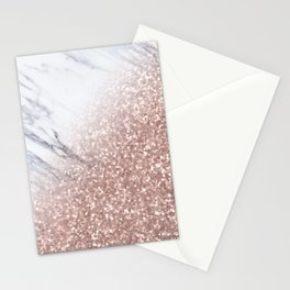 Blush Pink Sparkles on White and Gray Marble V Stationery Cards