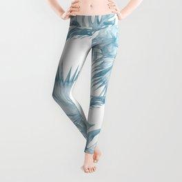 Palm Leaf Hibiscus Classic Blue + White Leggings