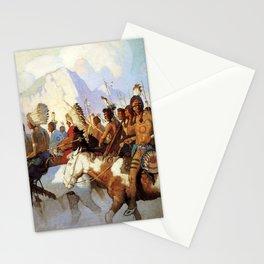 """""""War Party"""" Western Art by NC Wyeth Stationery Cards"""