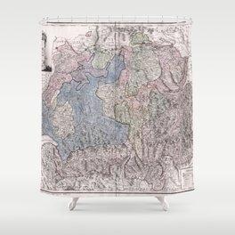 Vintage Map Print - Franz Johann Joseph von Reilly - Map of Switzerland (1796) Shower Curtain
