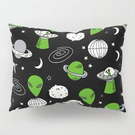 Alien outer space cute aliens french fries rad sodas pattern print black Pillow Sham
