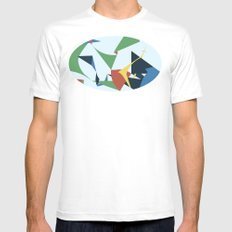 Folds White Mens Fitted Tee SMALL