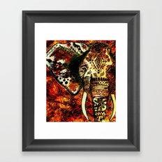 Patterned Sketched Elephant Framed Art Print