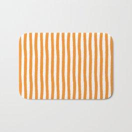 Orange and White Cabana Stripes Palm Beach Preppy Bath Mat