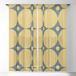Futura Mid-century Modern Minimalist Abstract Pattern in Mustard Yellow and Navy Blue Sheer Curtain